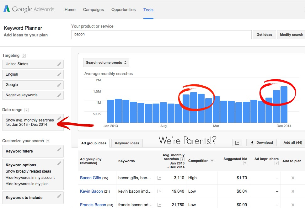 how to use keyword planner in google we re parents
