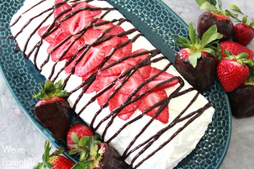 strawberry cake roll with fudge drizzle