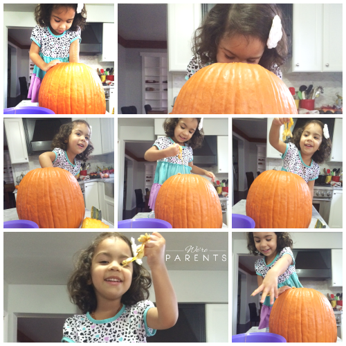 cleaning a pumpkin
