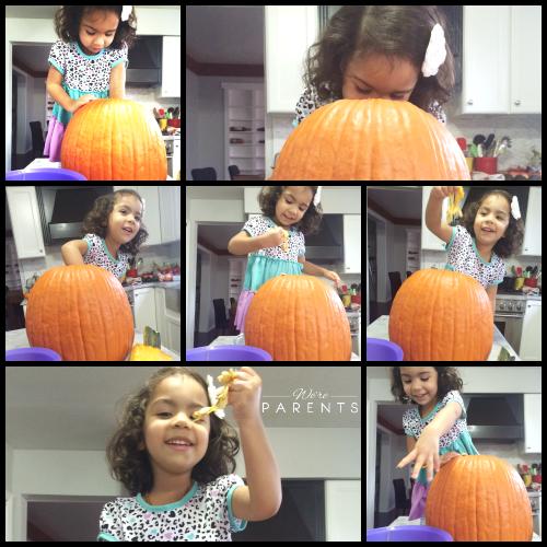 cleaning a pumpkin