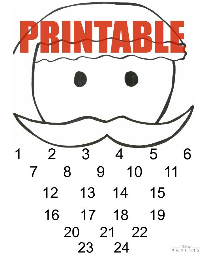 DIY santa advent calendar printable 5 MINUTE