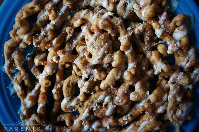 snickerdoodle cheesecake funnel cake recipe closeup