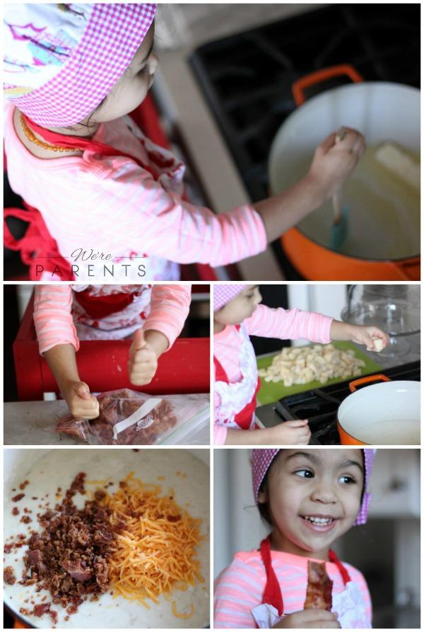making homemade potato soup