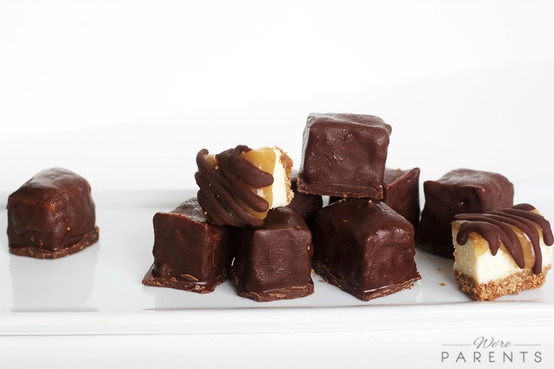 Chocolate Covered Caramel Cheesecake Bites