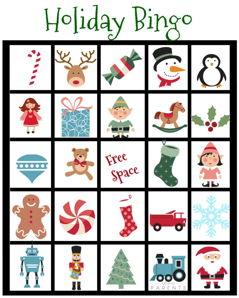 Candid image intended for christmas bingo card printable