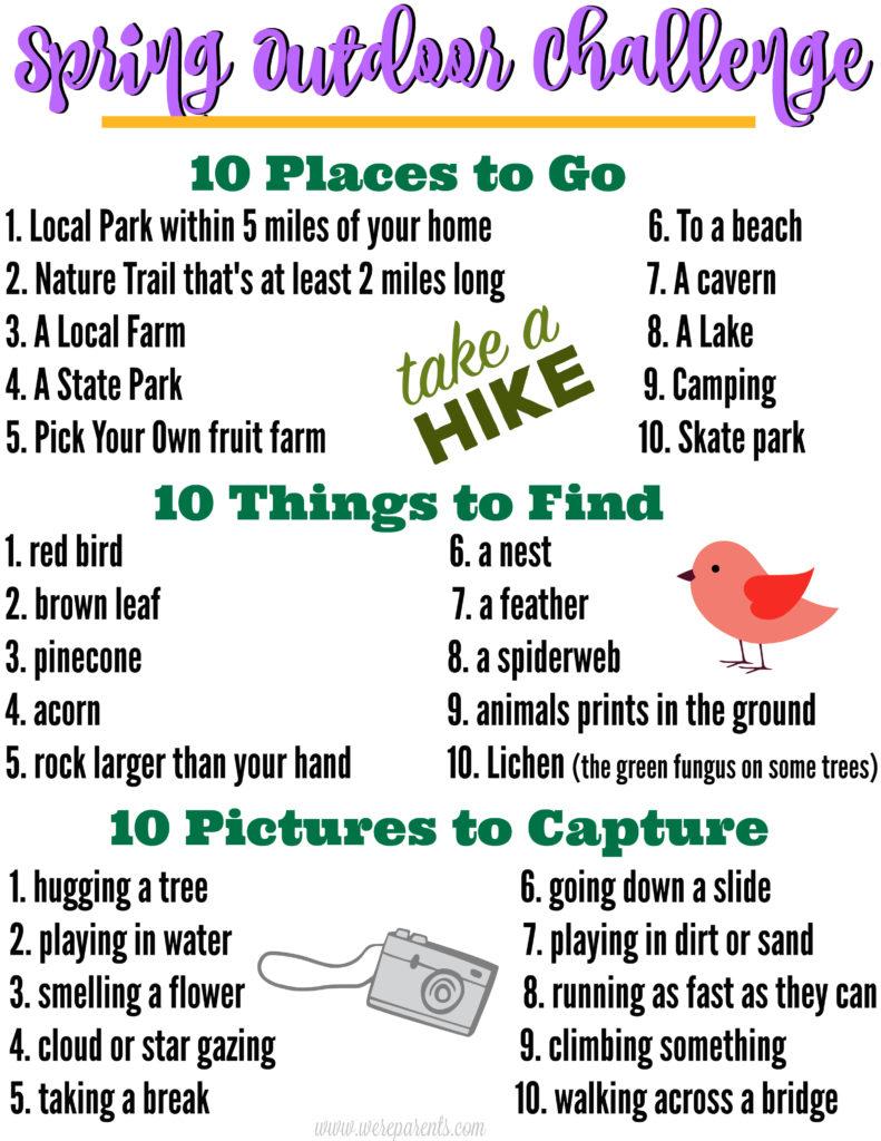 spring outdoor challenge for kids free printable we u0027re parents