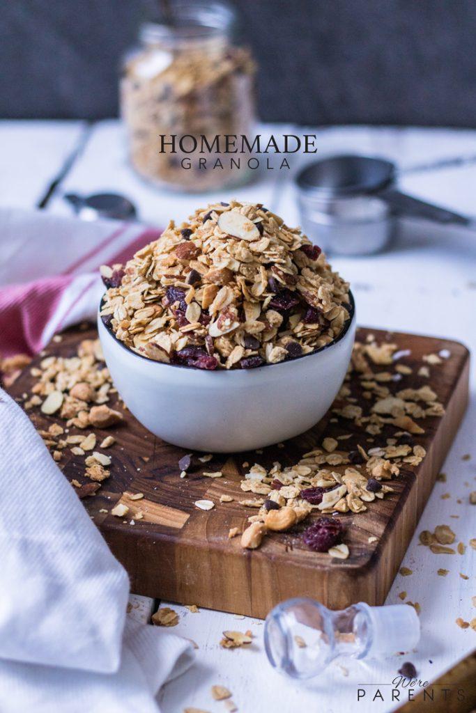 homemade cranberry chocolate granola