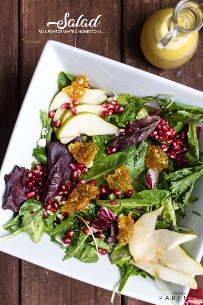 pear pomegranate and honeycomb salad