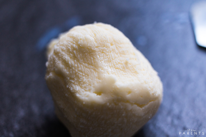 making homemade butter from cream