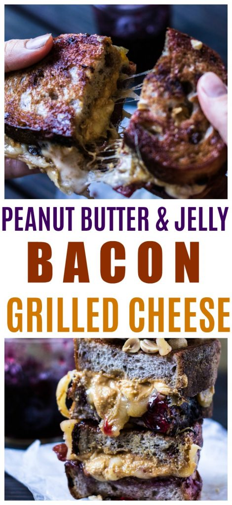 peanut butter and jelly grilled cheese with bacon